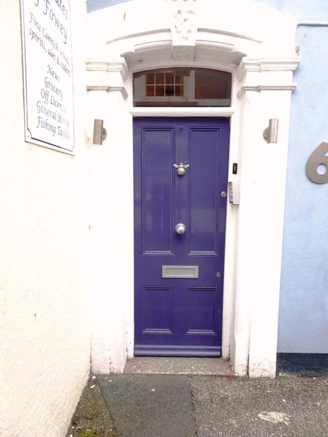 Blue door with bee knocker, Fowey, Cornwall, September 2019