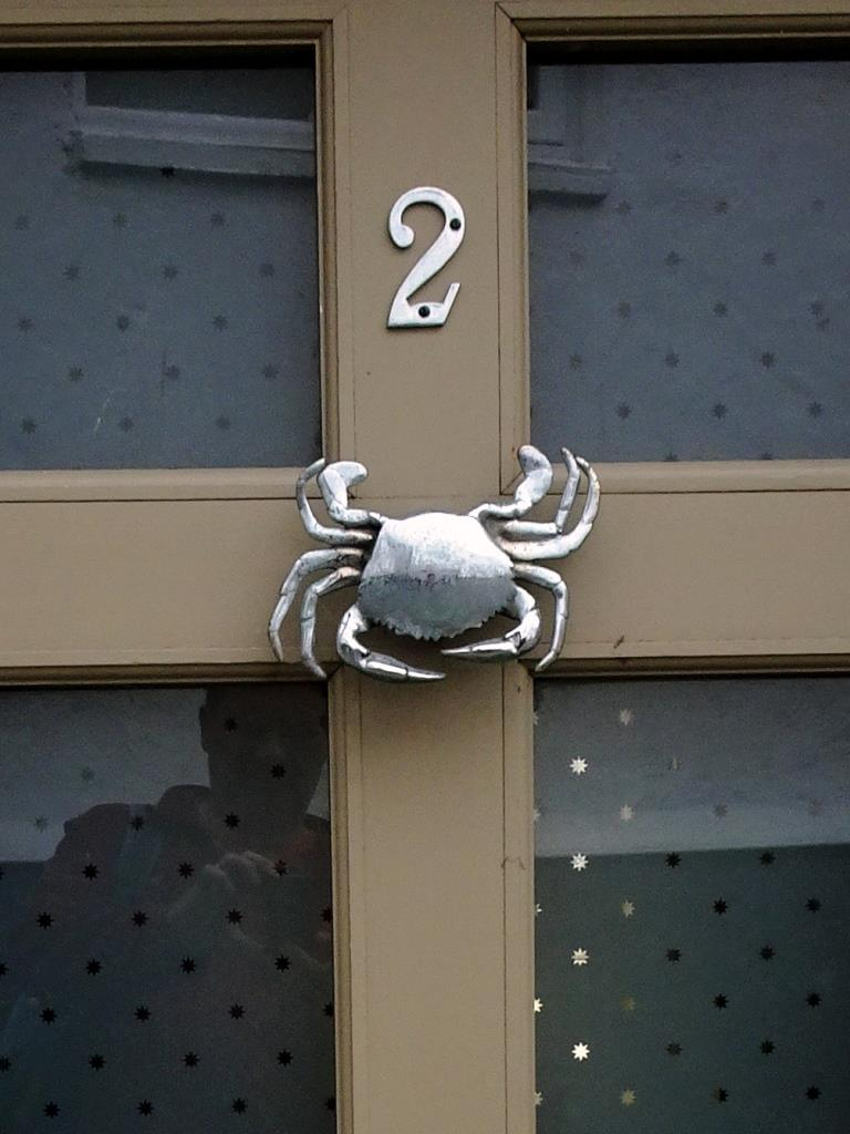 Close up of the door with the crab knocker (yours truly in the reflection), Fowey, Cornwall, September 2019