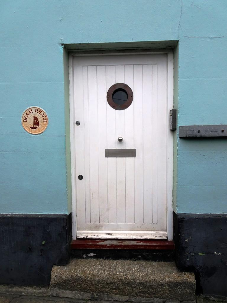 Beam Reach - door with a porthole, continuing the nautical theme, Fowey, Cornwall, September 2019