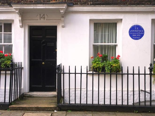 Lawrence of Arabia lived here, Westminster, October 2019