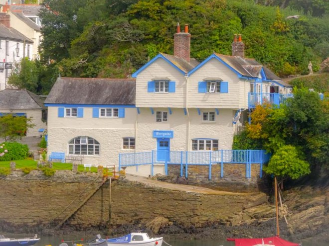 See the blue door on Ferryside, Fowey, Cornwall, September 2019