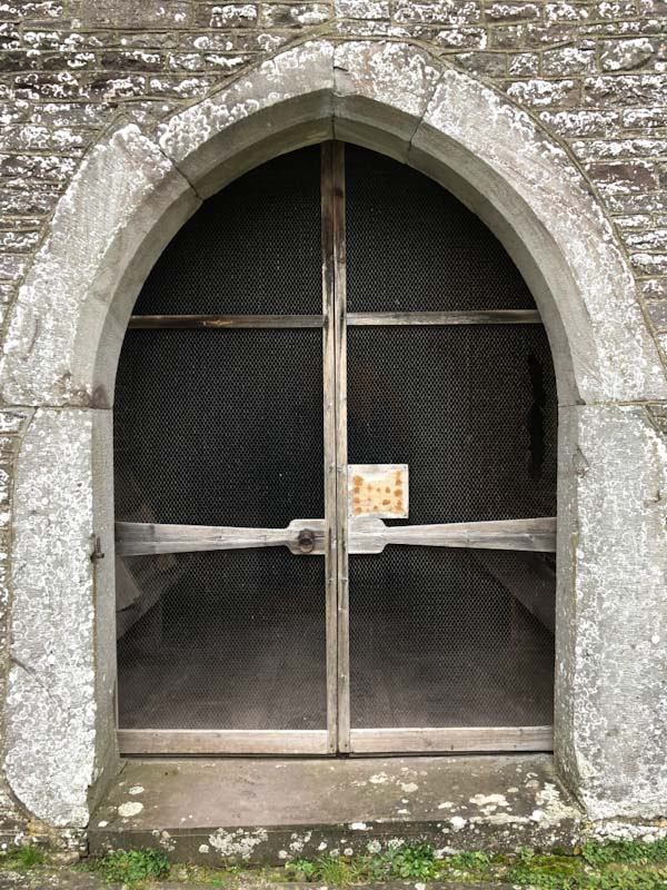 Outer door, St Gastyn's Church, Llangorse Lake, Wales, December 2019