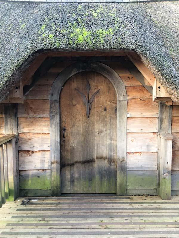 Entrance door, Prince of Wales bird hide, Llangorse Lake, Wales, December 2019