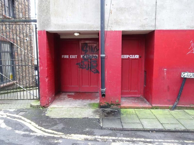 Fire exit doors, Bristol Hippodrome, December 2019
