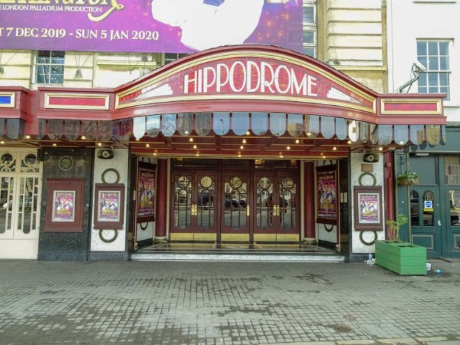 Front entrance to the Bristol Hippodrome, Doors, December 2019