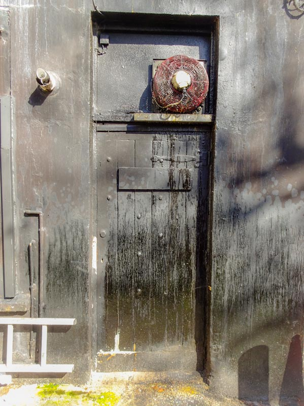 Restaurant kitchen door, off Park Street, Bristol, March 2020
