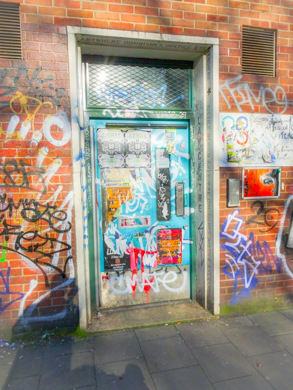 Solicitor's door, Stokes Croft, Bristol, March 2020