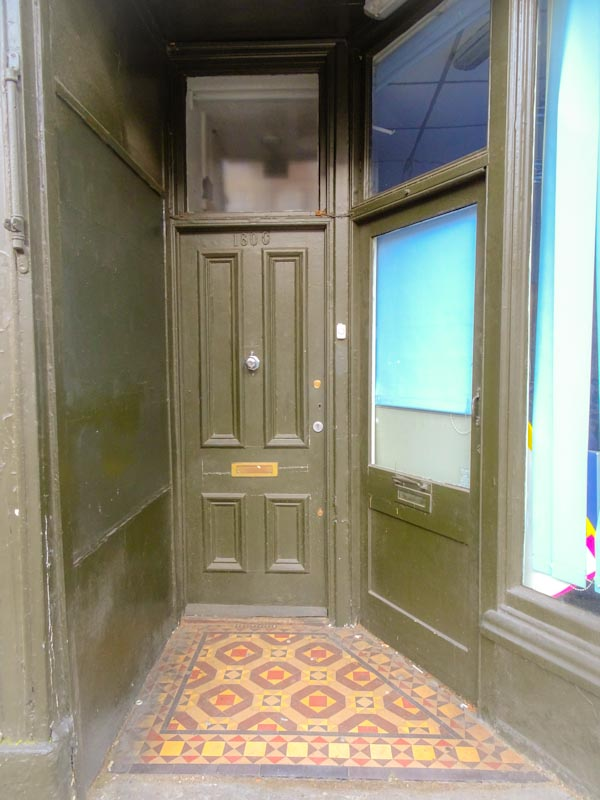Two doors and a tiled entrance, Cheltenham Road, Bristol, March 2020