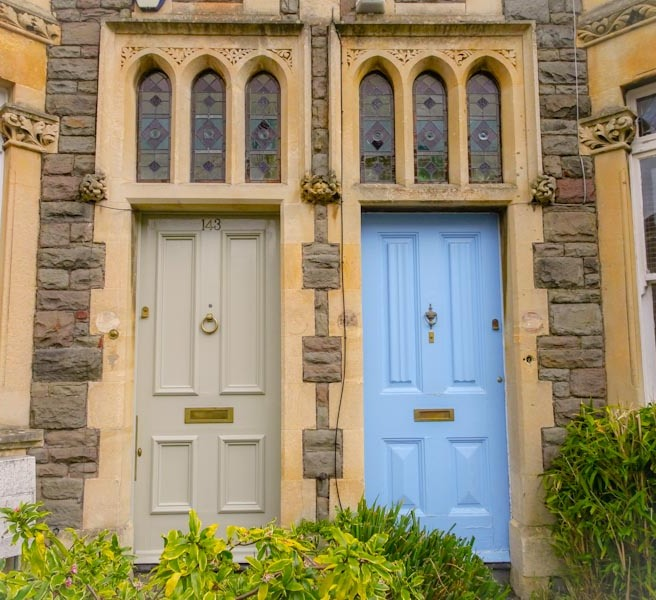 A pair of doors with beautiful stained glass widows above, Montpelier, Bristol, March 2020
