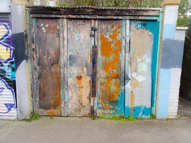 Worn and weathered garage door, Montpelier, Bristol, March 2020