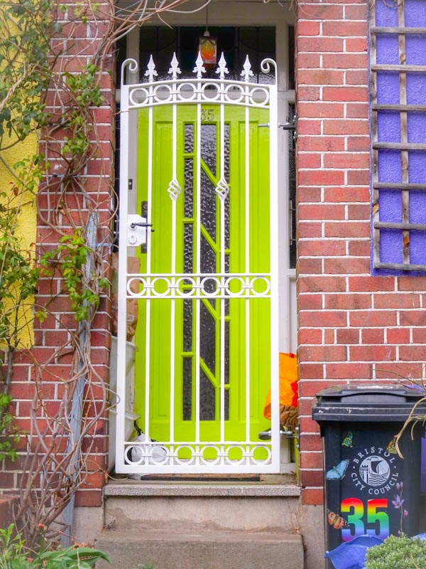 How to make a secure entrance look cheerful, Montpelier, Bristol, March 2020