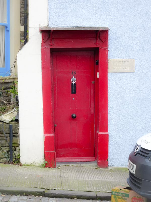 Old-style door with awning, Montpelier, Bristol, March 2020