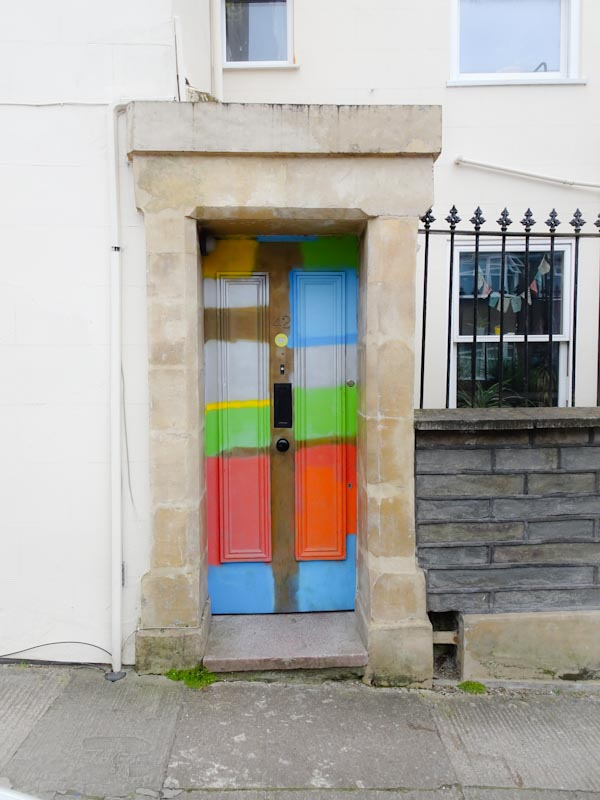 Artistic/badly painted door, Montpelier, Bristol, March 2020