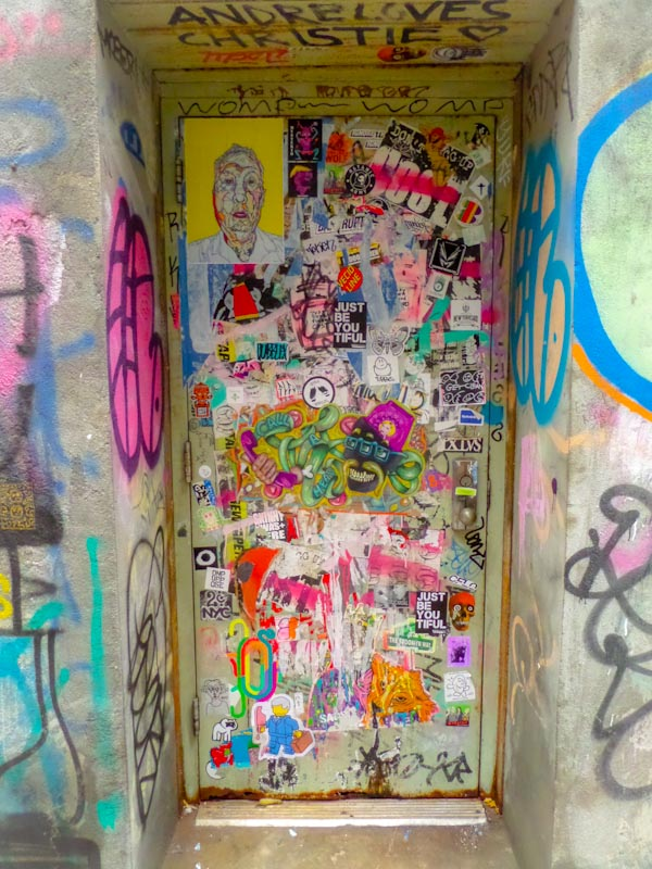Wheatpaste door, East Village, New York, October 2017