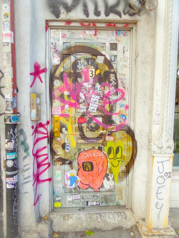 Wheatpaste door, East Village, New York, October 2017
