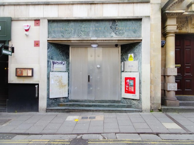 Large metal doors, Baldwin Street, Bristol, December 2019