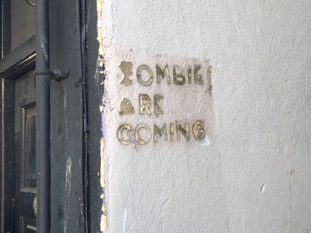 The zombies are coming, doorway, Gloucester Road, Bristol, May 2020
