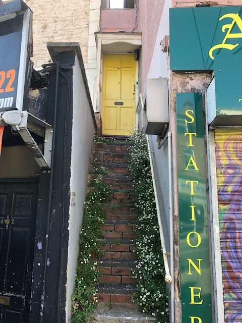 Steps and daisies lead up to a yellow door, Gloucester Road, Bristol, May 2020