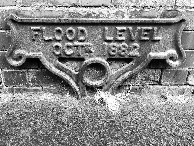 Flood level sign, St Werburghs, Bristol, June 2020