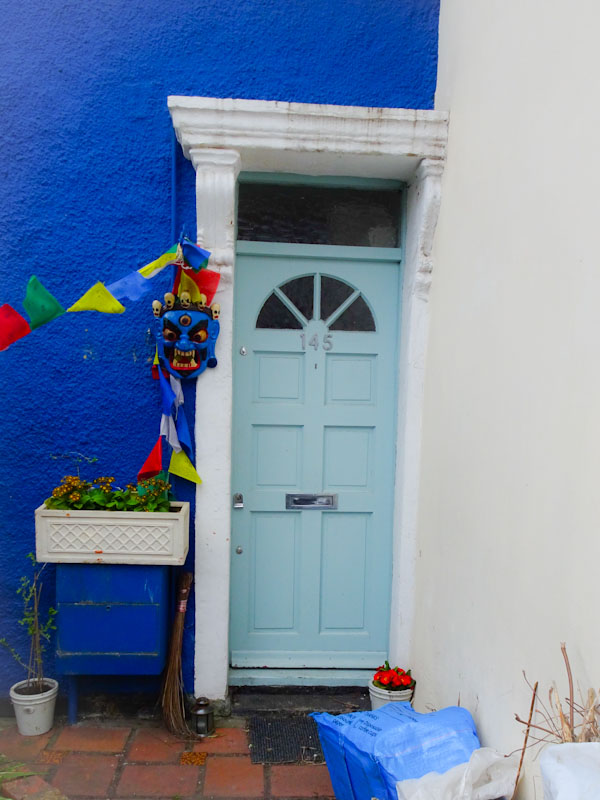 Great colours, a mask and a wall built into the door surround, St Werburghs, Bristol, March 2020