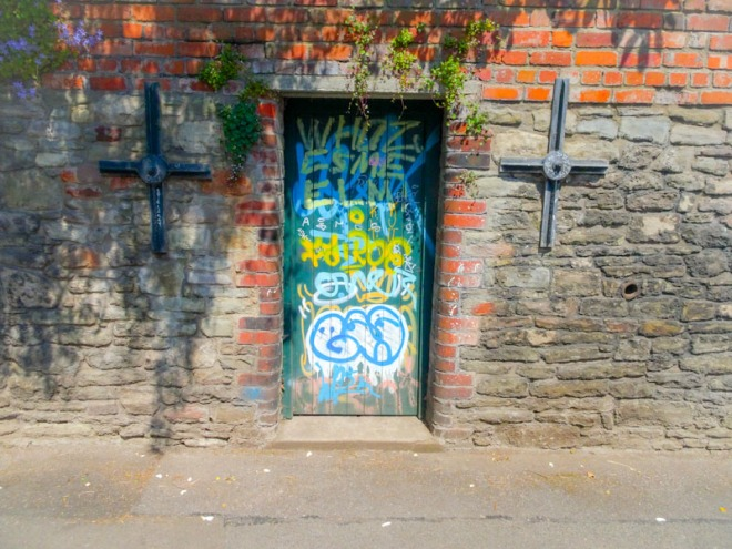 Back yard gate with graffiti, Montpelier, Bristol, May 2020