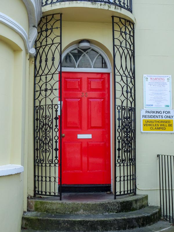 A gorgeous door somewhat eclipsed by the warning notices to the right, Cheltenham, September 2020