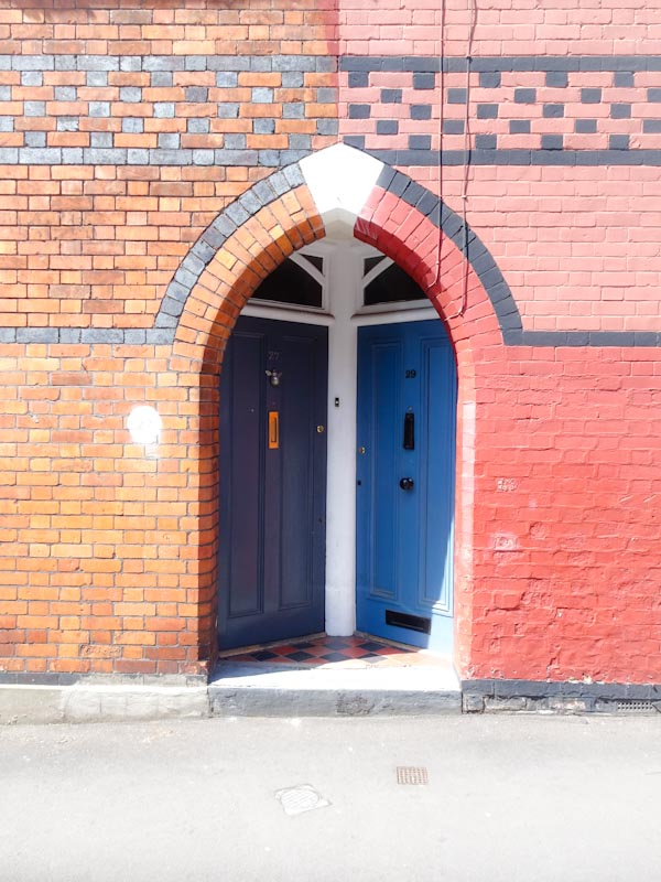 Double doors in St Andrews, Bristol, May 2020