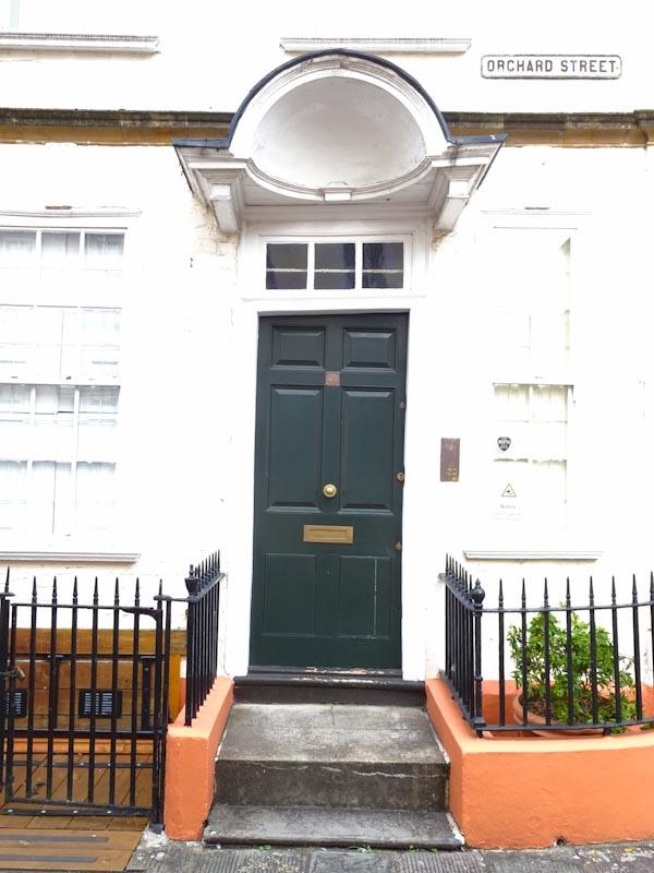 Door and doorway, Orchard Street, Bristol, September 2020