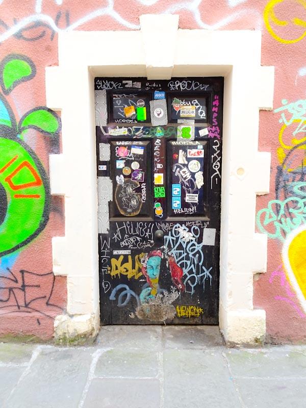 Door covered in 'slaps' (stickers), Bristol, September 2020