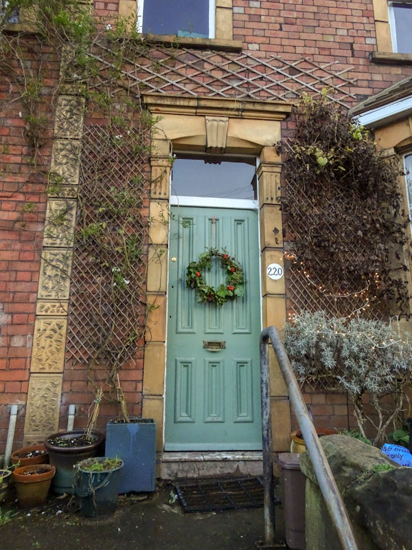 Green door and lots of trellis, Redland, Bristol, December 2020
