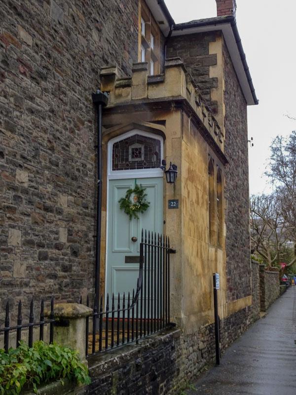 Mint green door with castellation, Redland, December 2020