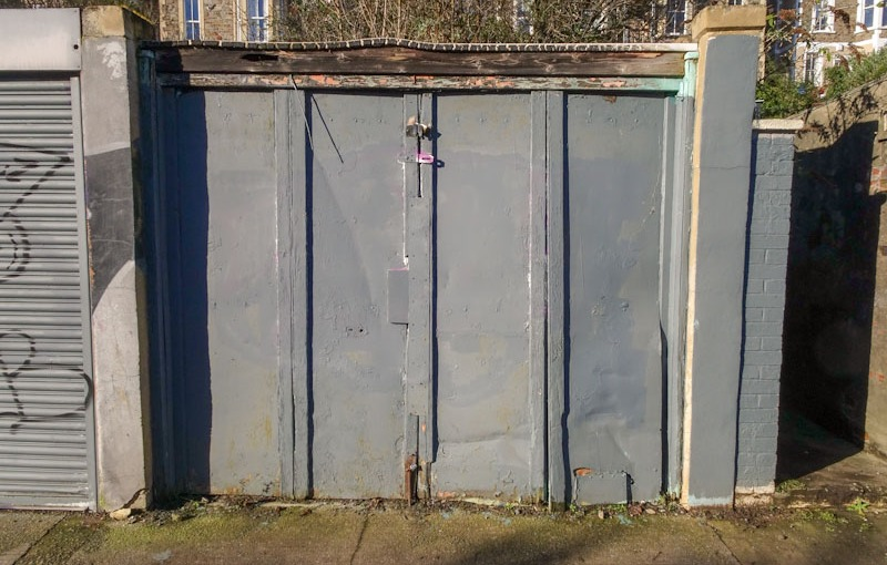 Four panelled garage door, Montpelier, Bristol, January 2021
