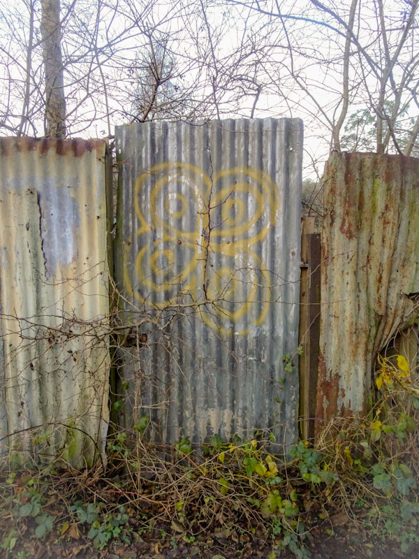 Corrugated iron gate, Boiling Wells Lane, Bristol, December 2020