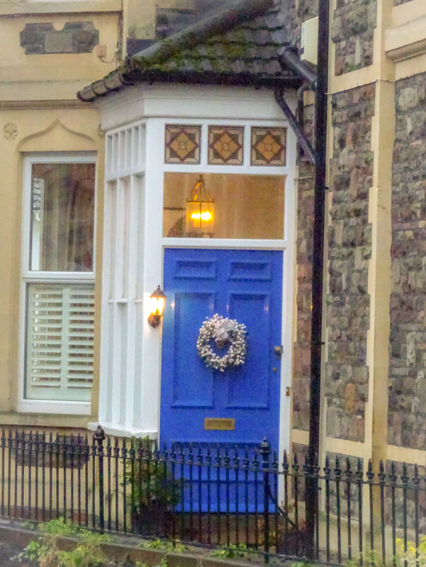 Blue door, sideways entrance, Redland, Bristol, December 2020