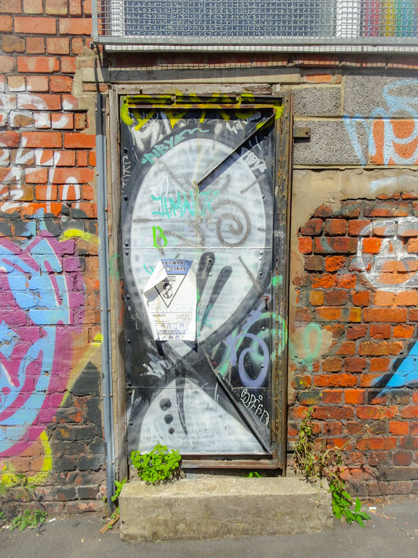 Mr Bloopy tag on a knackered old door, Bristol, July 2020