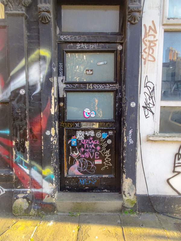 Graffiti door, City Road, Bristol, March 2021