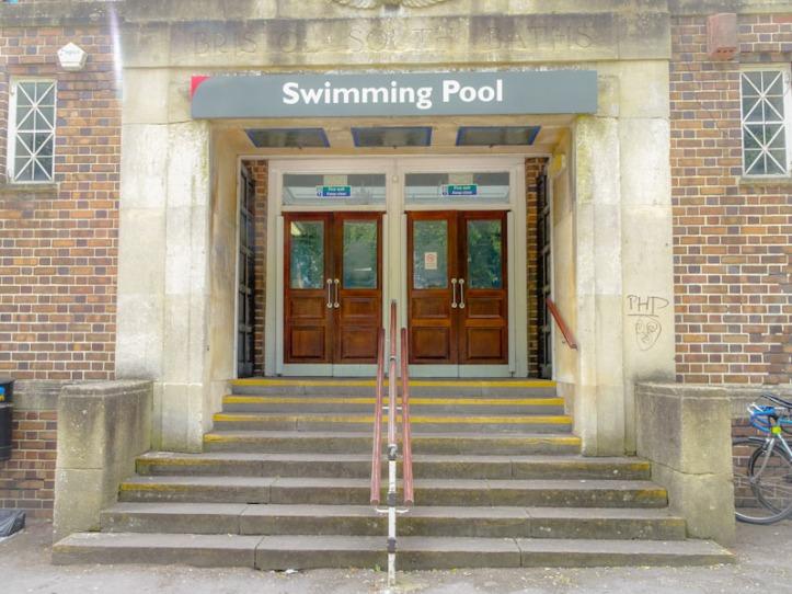 Bristol South Baths, Entrance doors, Bristol, May 2019