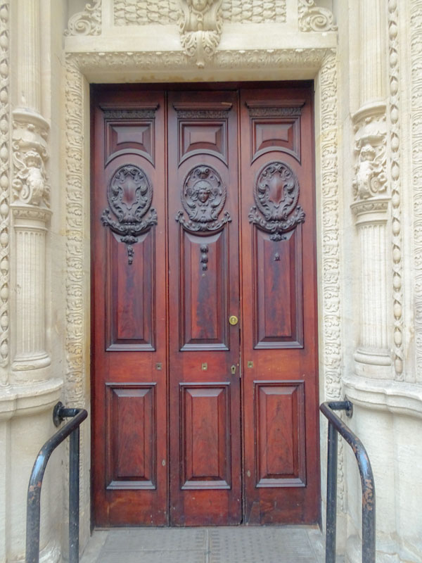 Beautifully carved triple door, the Centre, Bristol, March 2019