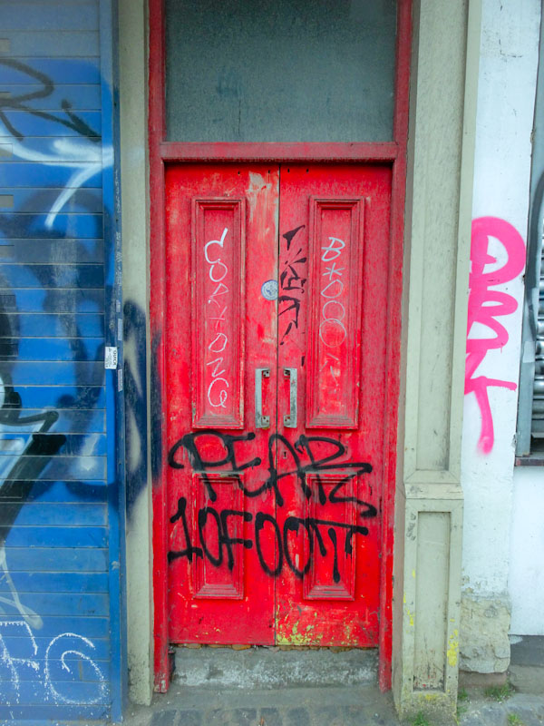 Red graffiti door, Bristol, April 2021