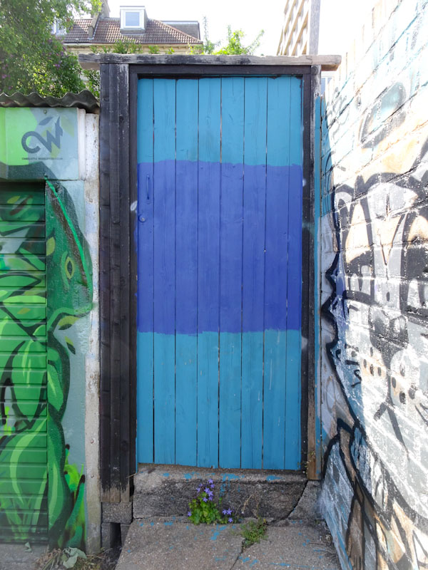 Back gate door with blue sections, Montpelier, Bristol, May 2020