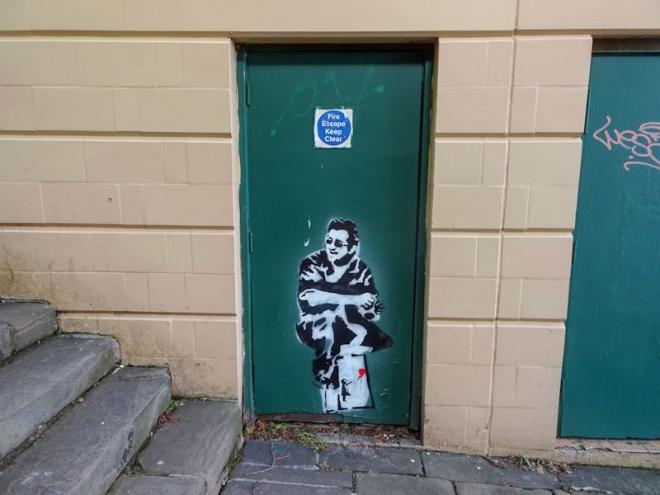 Stencil door, City centre, Bristol, April 2021