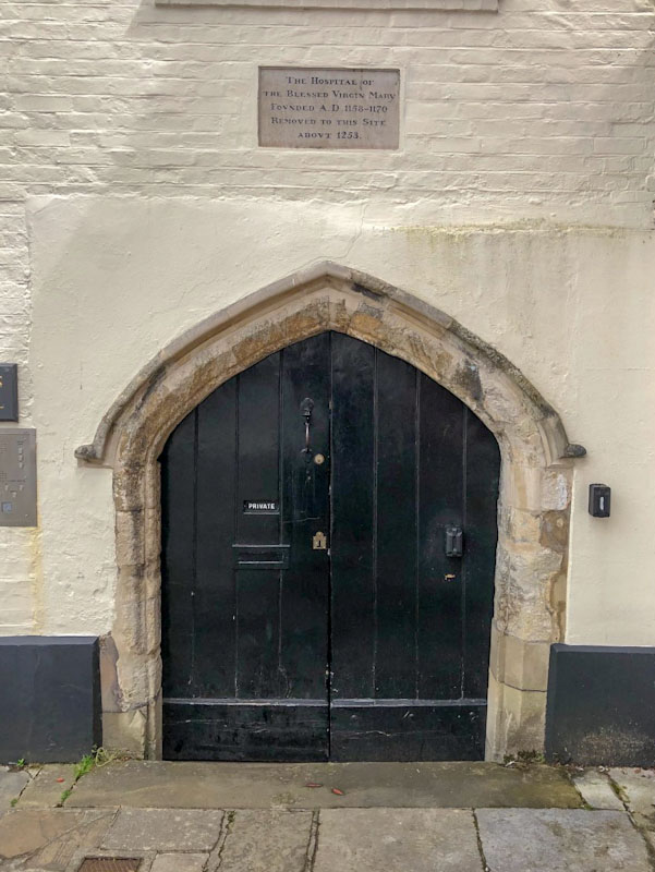 Door to the Hospital of the Blessed Virgin Mary (1254), Chichester, May 2021