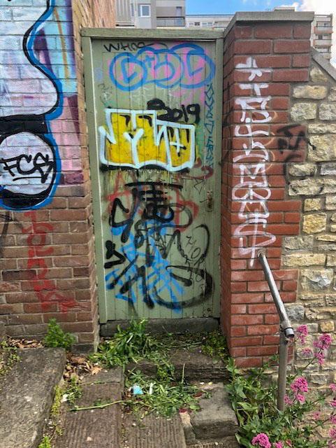 Arched garden door, Cotham, Bristol, May 2021