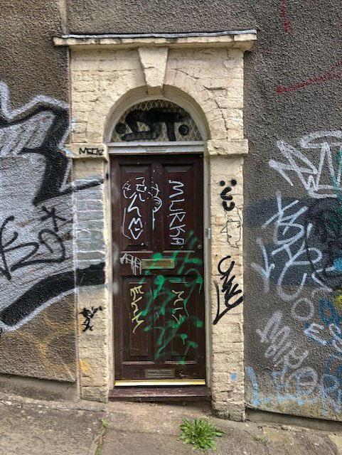 Graffiti door, Stokes Croft, Bristol, May 2021