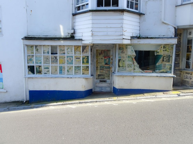 Closed shop door, Lyme Regis, Dorset, July 2021