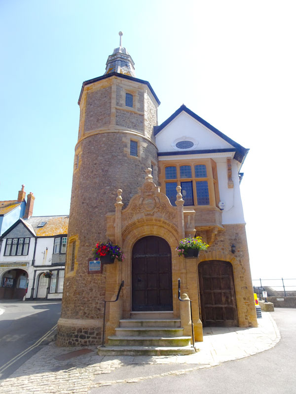 Two doors on the Guildhall, Lyme Regis, Dorset, July 2021