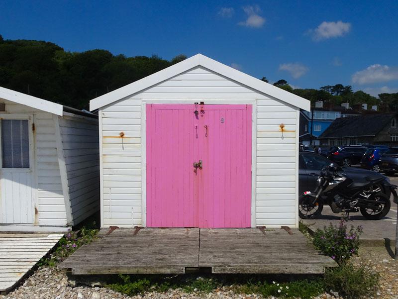 Pink beech hut door, Lyme Regis, Dorset, July 2021