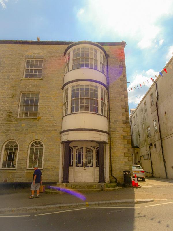 Fancy door and bay windows, Lyme Regis, Dorset, July 2021
