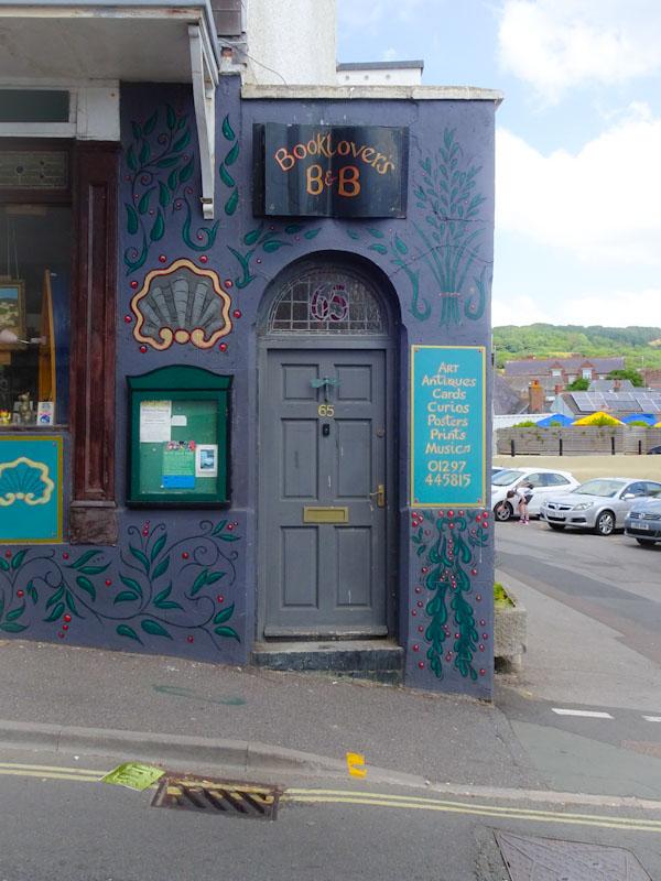 Booklovers B&B door, Lyme Regis, Dorset, August 2021