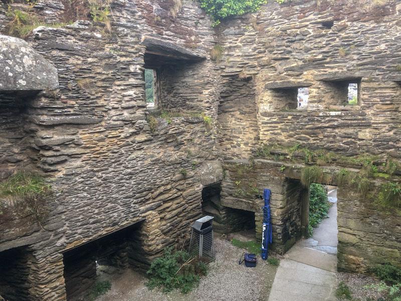 Polruan Block House ruin and door, Polruan, Cornwall, August 2021
